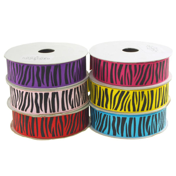 Zebra Print Grosgrain Ribbon, 7/8-Inch, 10 Yards