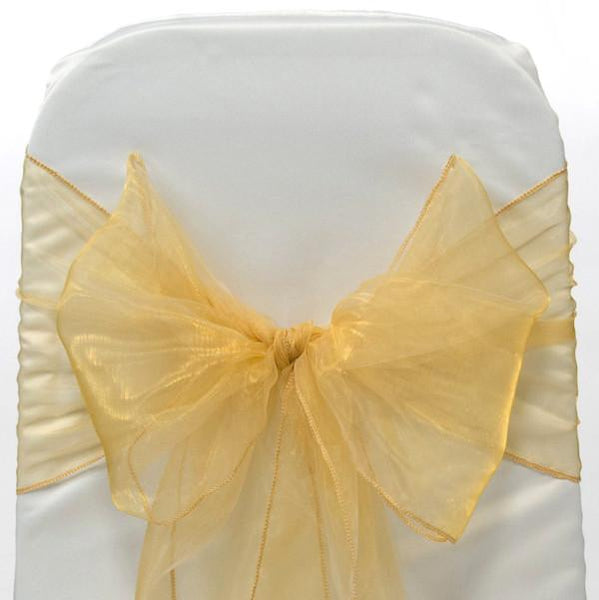 12-Pack, Organza Chair Bow Sash, 9-inch, 10-feet, 6-piece, Gold