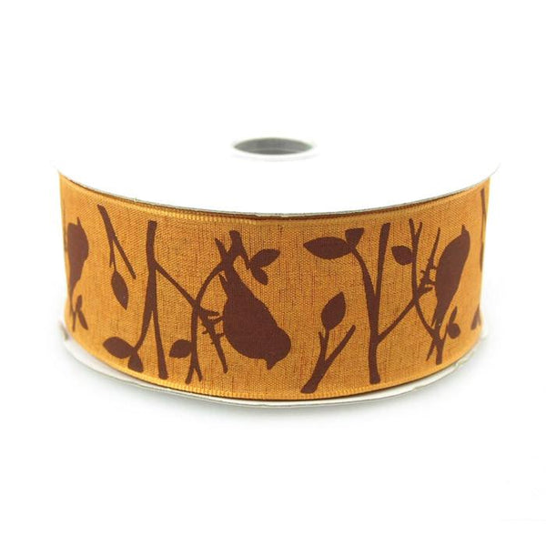 Birds Poly Ribbon Wired Edge, 1-1/2-Inch, 10 Yards, Gold