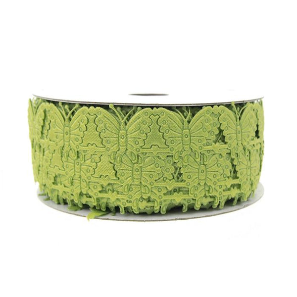 12-Pack, Butterfly Polyester Garland Ribbon, 1/2-inch, 10-yard, Moss Green
