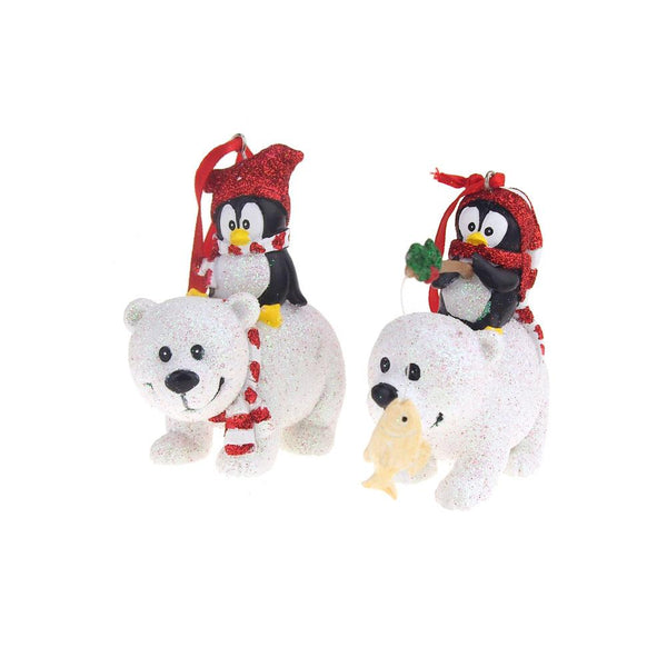 Christmas Glittered Ceramic Penguin and Polar Bear Holiday Ornaments, 4-Inch, 2-Piece