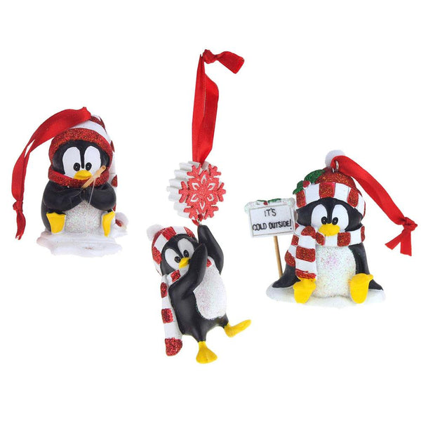 Winter Penguin Ceramic Christmas Ornaments, Black/White, 3-1/2-Inch, 3-Piece