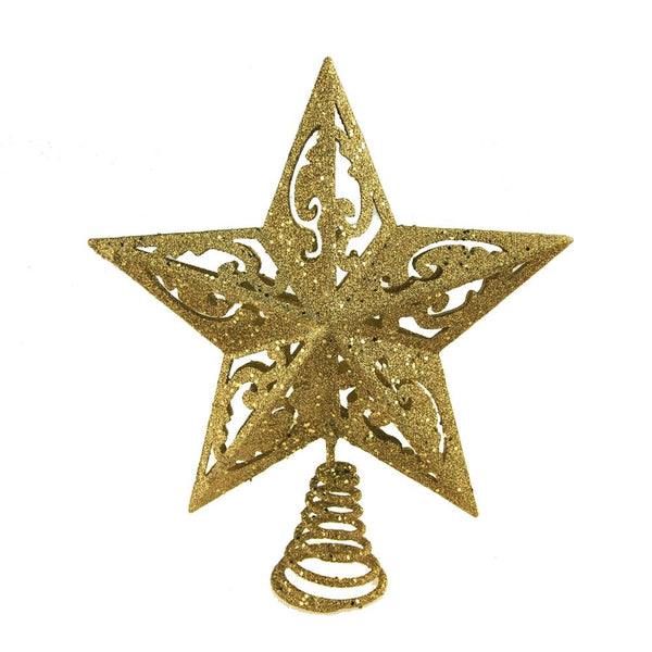 Glitter 5 Point Star Christmas Tree Top, Gold, 9-Inch