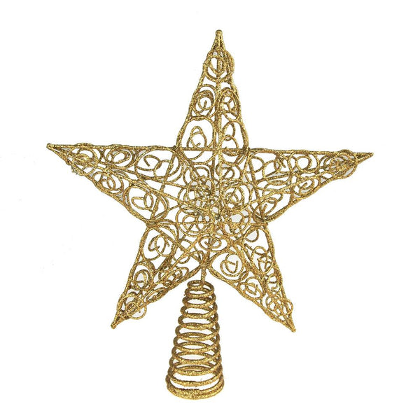Christmas Wired Star Tree Top, Gold, 10-Inch