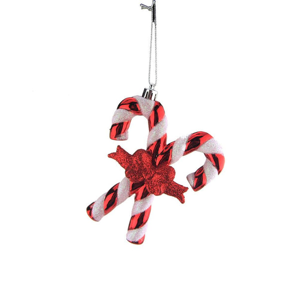 Christmas Candy Cane Plastic Ornament, Red and White, 4-1/2-Inch