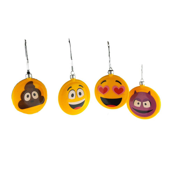 Emoticon Double-Sided Disc Christmas Ornaments, 3-1/2-Inch, 4-Piece