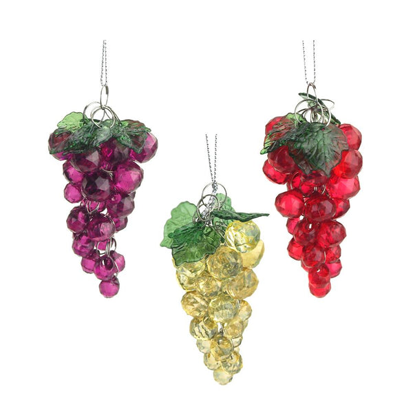 12-Pack, Beaded Grape Cluster Christmas Tree Ornaments, 3-1/2-Inch, 3-Piece