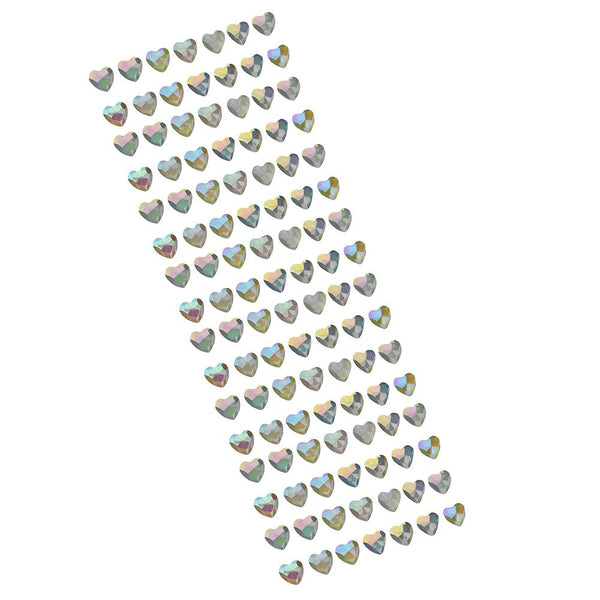 Iridescent Heart Stone Stickers, Clear, 1/2-Inch, 112-Count