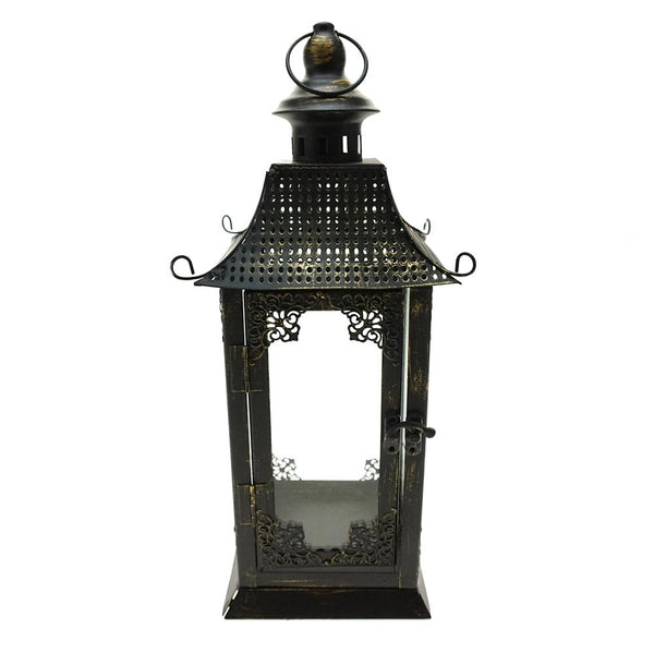 Antique Curved Top Metal Lantern, 12-Inch, Brown