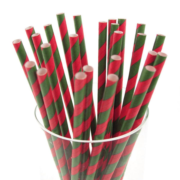 12-Pack, Candy Striped Paper Straws, 7-3/4-inch, 25-Piece, Hot Pink/Moss