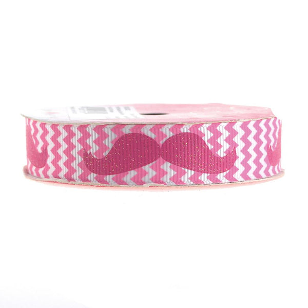 12-Pack, Glitter Mustache Chevron Grosgrain Ribbon, 7/8-inch, 3-yard, Hot Pink