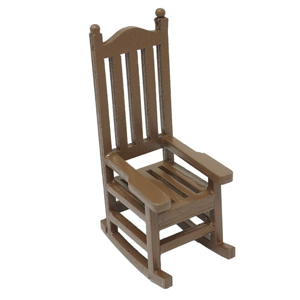 Mini Rocking Chair Wood Figurine, Brown, 2-Inch
