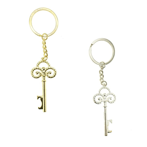 Antique Skeleton Key Wedding Key Chain Favor, 4-3/4-Inch, 12-Count