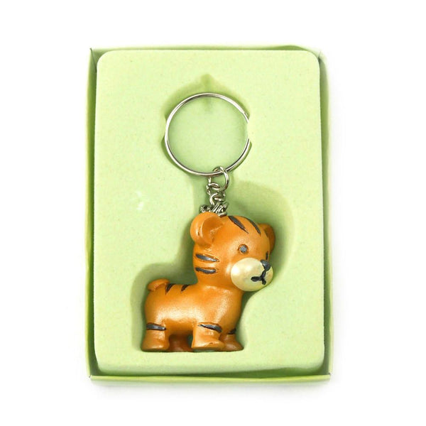 12-Pack, Safari Keychain Favors, 4-inch, Baby Tiger, Orange