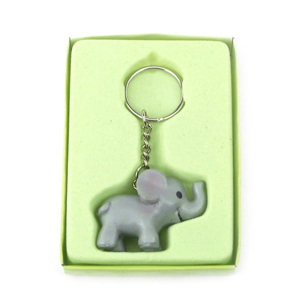 12-Pack, Safari Keychain Favors, 4-inch, Baby Elephant, Grey