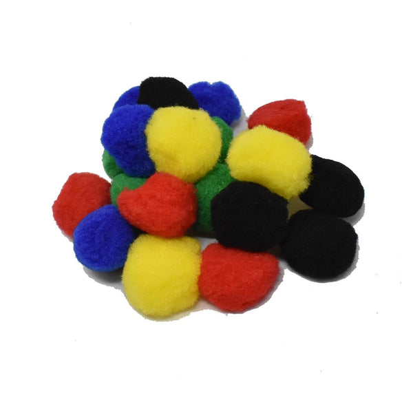 Medium Fuzzy Craft Pom Poms, Primary Colors, 1-1/2-Inch, 20-Piece