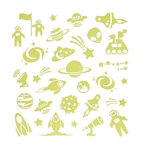 Glow In The Dark Outer Space Stickers, 30-Piece