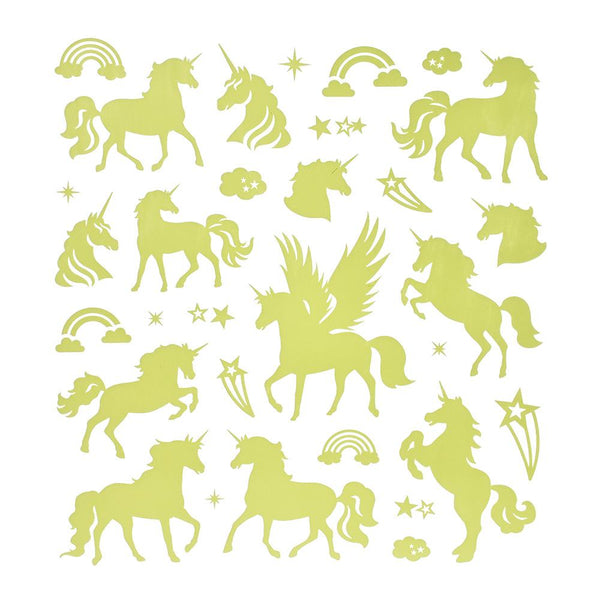 Glow In The Dark Unicorn Stickers, 31-Piece