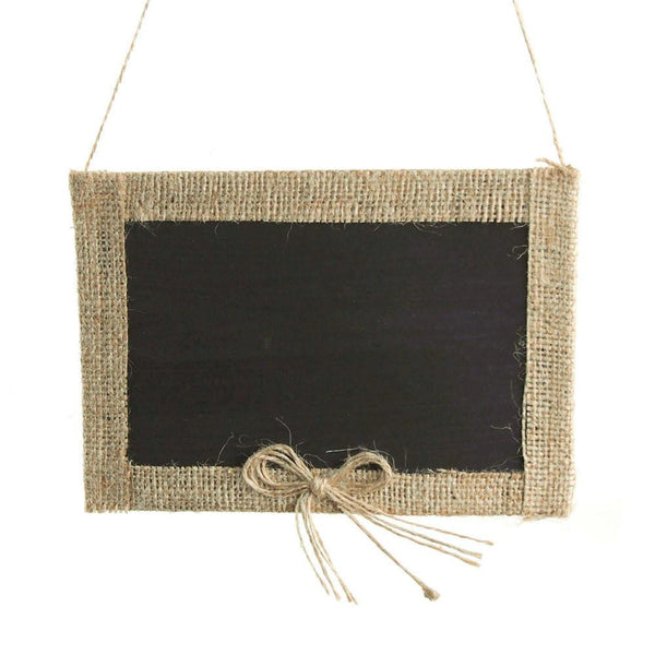 12-Pack, Hanging Chalkboard Frame with Burlap Border, 7-Inch