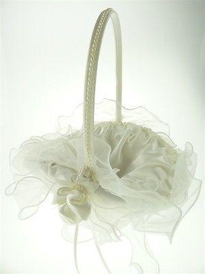 12-Pack, Satin Flower Girl Baskets Wedding Ceremony, 8-inch, Ruffled Organza (Oval), Ivory, CLOSEOUT