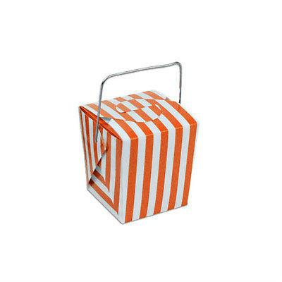 Striped Mini Take Out Boxes with Wire Handle, 1-5/8-inch, 12-Piece, Orange/White