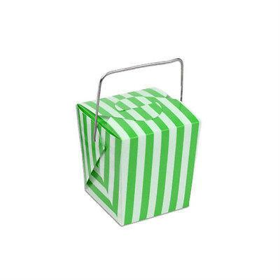 Striped Mini Take Out Boxes with Wire Handle, 1-5/8-inch, 12-Piece, Green/White