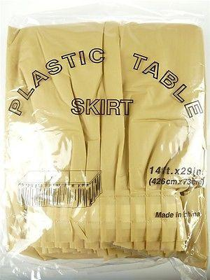 Plastic Table Skirt Adhesive Pleated, 29-Inch x 14-feet, Gold