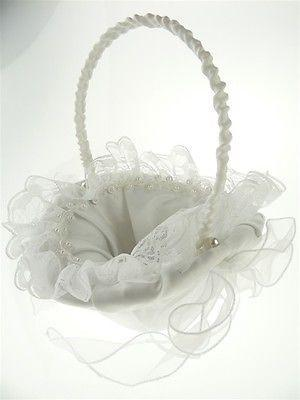 12-Pack, Satin Flower Girl Baskets Wedding Ceremony, 8-inch, Ruffled Lace w/ Pearl (Oval), White, CLOSEOUT