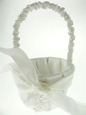 Satin Flower Girl Baskets Wedding Ceremony, 7-1/2-inch, Flower & Satin Bow, White, CLOSEOUT