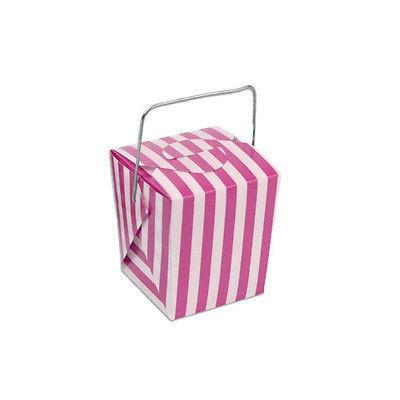 Striped Mini Take Out Boxes with Wire Handle, 1-5/8-inch, 12-Piece, Hot Pink/White