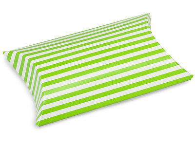 12-Pack, Striped Pet Pillow Boxes Favor, 3-nch, 12-Piece, Green/White