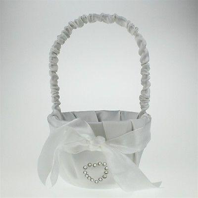Satin Flower Girl Baskets Wedding Ceremony, 8-inch, Rhinestone Heart Basket, White, CLOSEOUT