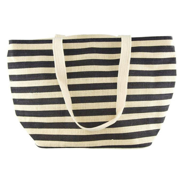 12-Pack, Striped Burlap Shopping Bag, Ivory, 21-inch