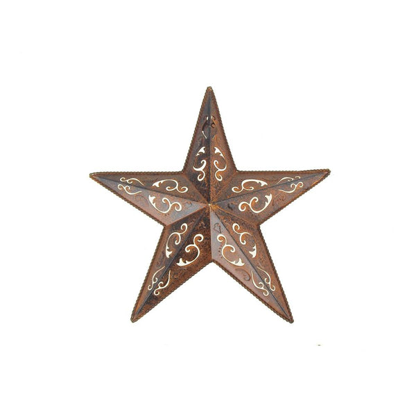 12 Pack, Metal Hanging Rusty Star with Black Lacey Christmas Decor, 12-Inch