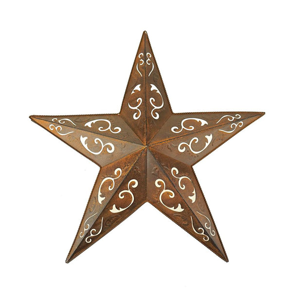 Metal Rustic Lacy Star Decor, Rust, 24-Inch