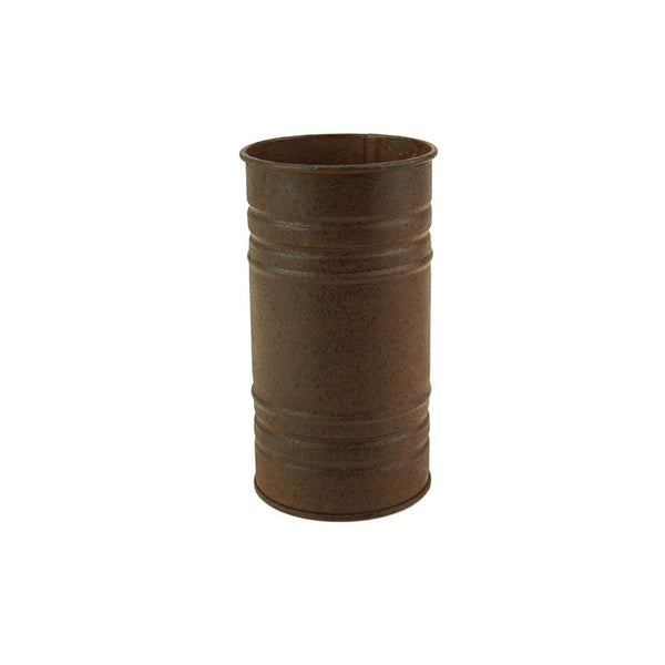 Small Metal Pillar Candle Holder and Vase, Rust, 6-Inch