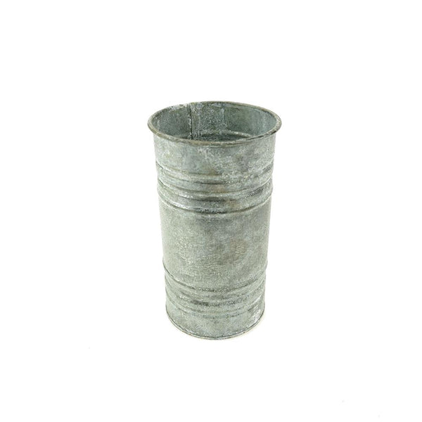 Small Metal Pillar Candle Holder and Vase, Gray, 6-Inch