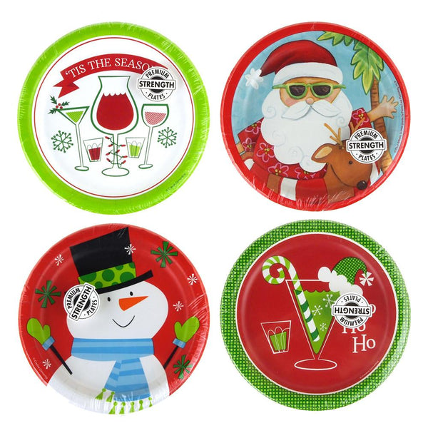 Christmas Print Paper Party Plates, 6-7/8-inch, 8-Piece