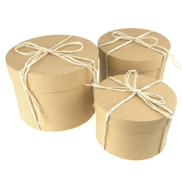 Holiday Round Natural Nested Gift Boxes, 5, 6 and 7-Inch, 3-Piece