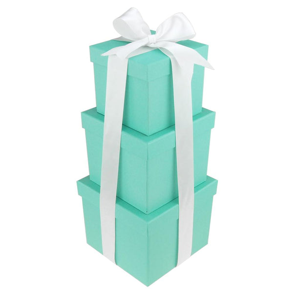 Robin's Egg Blue Nested Square Gift Boxes with Ribbon, 5, 6 and 7-Inch, 3-Piece