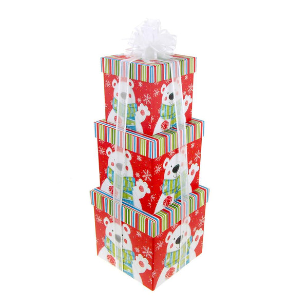 Holiday Polar Bear Square Nested Christmas Gift Boxes, 5, 6 and 7-Inch, 3-Piece