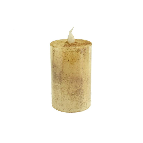 Battery Operated LED Votive Candle with Built-In Timer, Tan, 3-Inch
