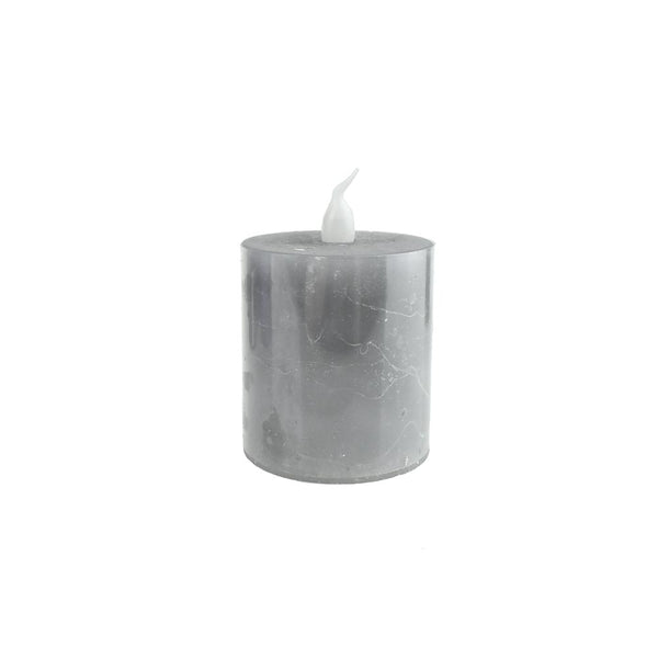 Battery Operated LED Votive Candle with Built-In Timer, Grey, 2-1/4-Inch