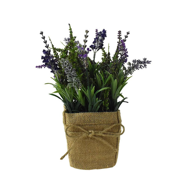 Artificial Lavender in Burlap Pot, 11-Inch