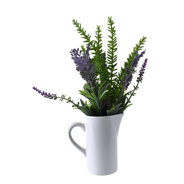 Artificial Lavender and Eucalyptus in Pitcher, 12-Inch