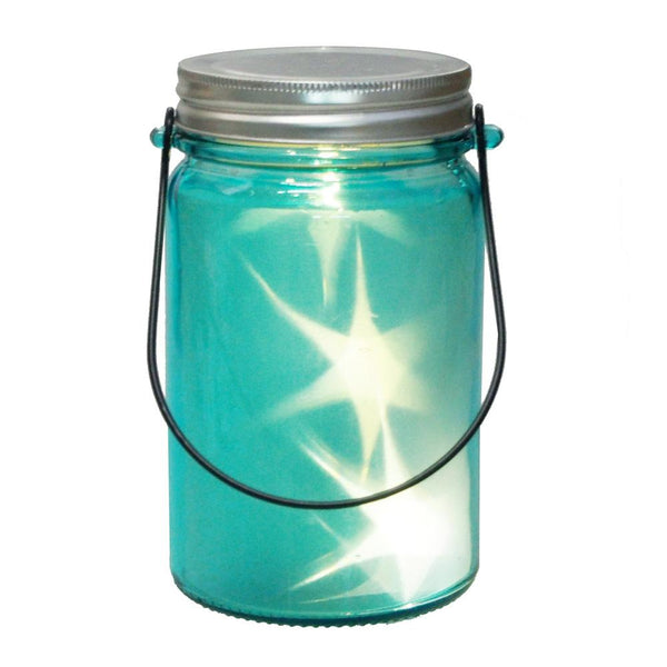 Mason Glass Bottle with Starry Light, Blue, 5-1/2-Inch