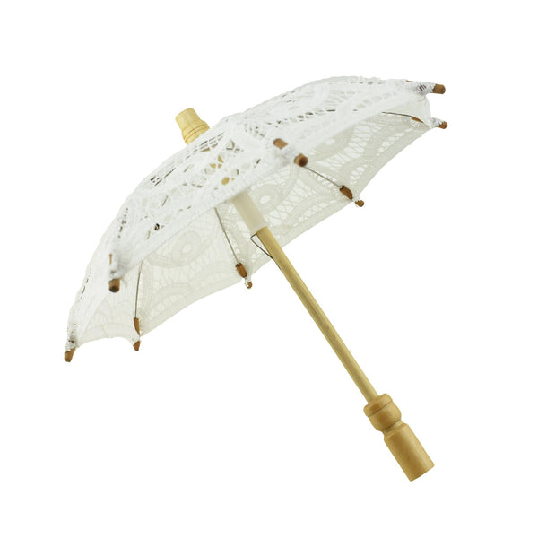 12-Pack, Mini Decorative Lace Umbrella, White, 11-Inch