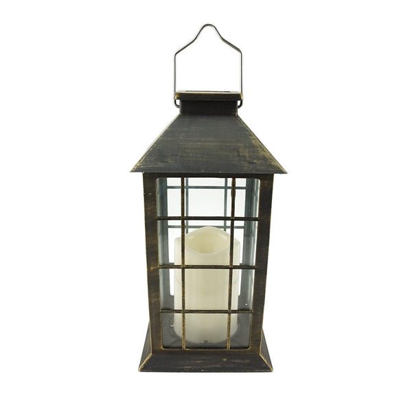 Antique LED Candle Solar Lantern, 10-3/4-Inch, Gold