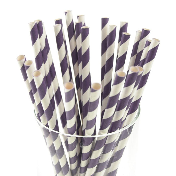 12-Pack, Candy Striped Paper Straws, 7-3/4-inch, 25-Piece, Lavender/White