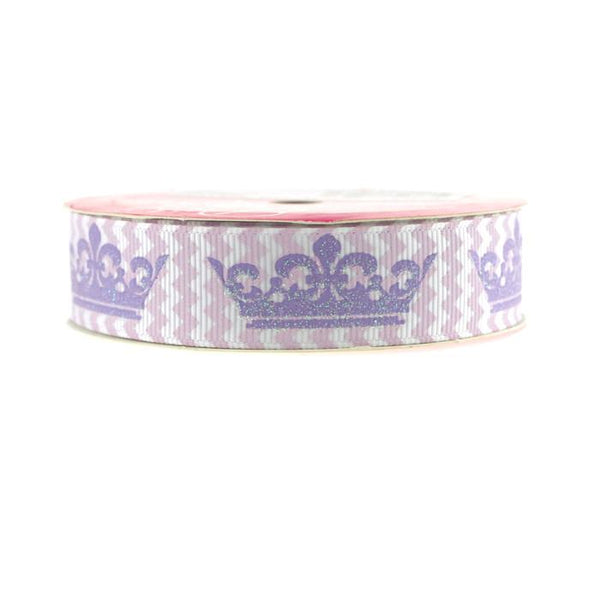 12-Pack, Princess Crown Chevron Grosgrain Ribbon, 7/8-inch, 3-yard, Lavender